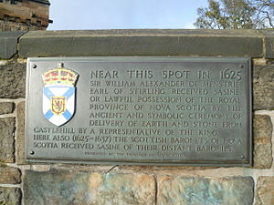 Argyll's Lodging - Nova Scotia plaque at Edinburgh Castle.