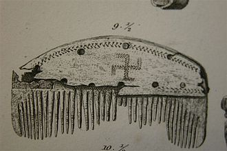 Swastika (Germanic Iron Age) - A comb with a swastika found in Nydam Mose, Denmark (3rd or 4th century)