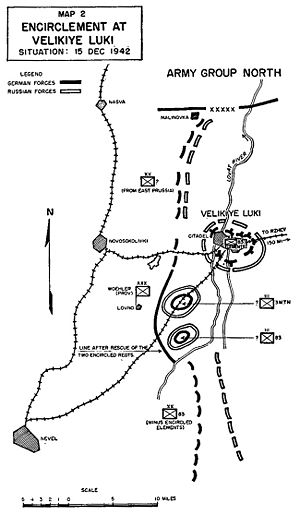 Battle for Velikiye Luki - Situation after the initial Soviet advance.
