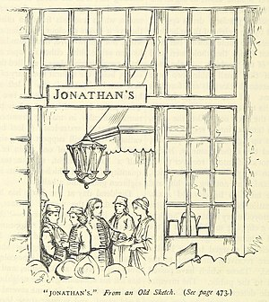 Jonathan's Coffee-House - 1870s woodcut illustration, based on an old sketch