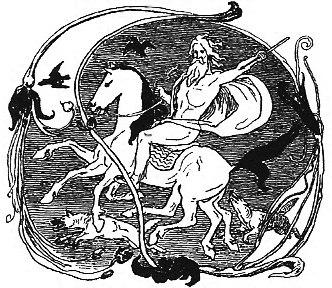 Odin, Sleipnir, Geri, Freki, Huginn and Muninn by Frølich
