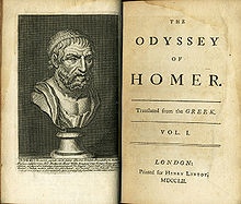 "Open ancient book, showing on the left page a bust of a bearded man, on the right the title page giving the following information: ""The Odyssey of Homer, transalted from the Greek. Vol. I, London. Printed for Henry Lintot MDCCLII"""