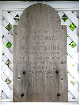 Flagstaff War - Wooden headstone for two of the British soldiers killed at Ohaeawai, preserved at Te Waimate mission