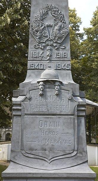 Ohain, Belgium - Image: Ohain war monument C