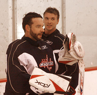 Olaf Kölzig - Kölzig and Brent Johnson. 2007–08 Washington Capitals practice session at the Kettler Capitals Iceplex in Arlington, Virginia