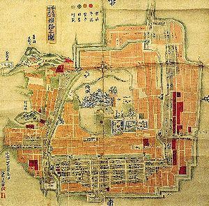 Jōkamachi - An old map of the castle town surrounding Himeji Castle