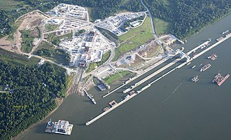 Olmsted Locks and Dam - Site of the Olmsted Project. Notice the on-land casting yard where concrete elements of the dam are built and then transported into the river for placement.