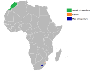 African monarchies by succession: Agnatic primogeniture Elective Male-preference primogeniture Order of succession (Primogeniture) in African monarchies.png