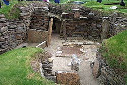 Excavated dwellings at Skara Brae Scotland, Europe's most complete Neolithic village.