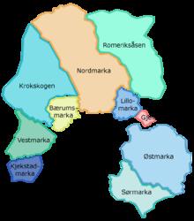 kart over marka Nordmarka   Wikipedia kart over marka
