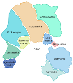 Bærumsmarka - Bærumsmarka forms part of Oslomarka