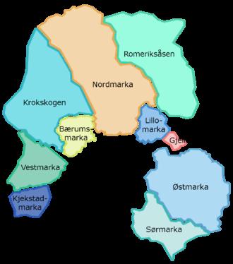 Marka, Oslo -  Map of Oslomarka