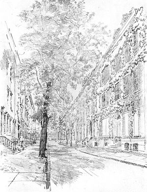 Delancey Place - Earliest illustration of Delancey Place. View of 2000 block looking east (Pennell, 1914)