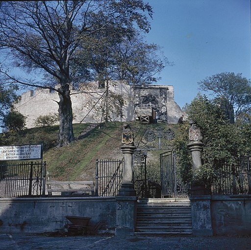 Overzicht vanaf de voet van de burchtheuvel met toegangshek en zicht op de ingangspoort, tijdens restauratie - Leiden - 20382105 - RCE