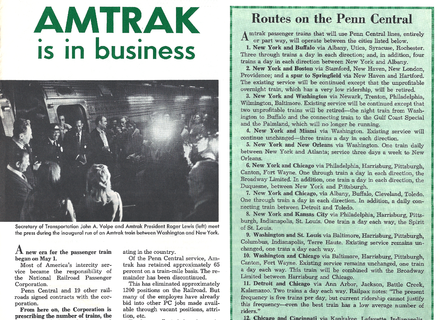 Penn Central Railroad's employee publication announcing the inauguration of Amtrak on May 1, 1971. Penn Central Amtrak routes are shown. PCPOST 19710601 Amtrak.png