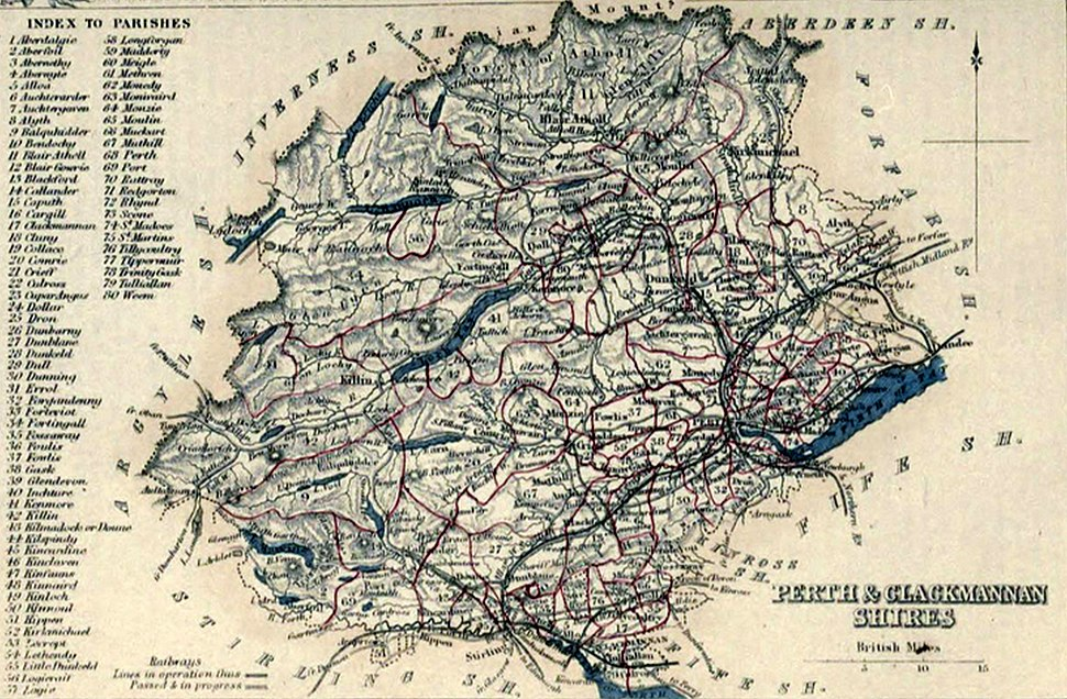 PERTH & CLACKMANNAN SHIRES Civil Parish map