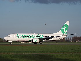 PH-HZE Transavia Boeing 737-8K2(WL) takeoff from Polderbaan, Schiphol (AMS - EHAM) at sunset, pic1.JPG