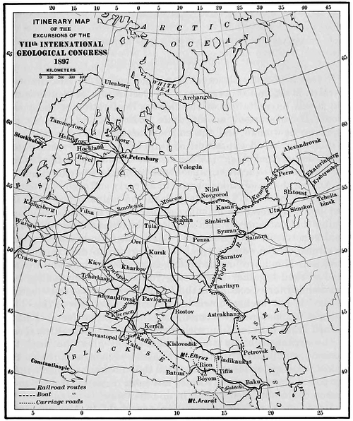 PSM V51 D231 Itinerary map of the seventh international geological congress 1897.png