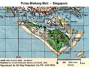 Sentosa - Pulau Blakang Mati map, 1945