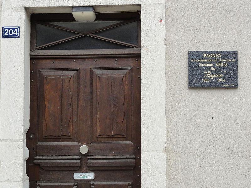 Pagney-derrière-Barine (Meurthe-et-M.) Maison Suzanne Kricq (1900-1944) plaque