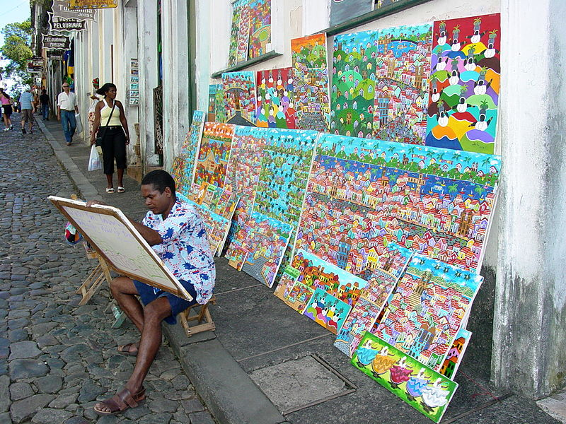 File:Painter Displays His Wares in the Streets of Salvador - Brazil.jpg
