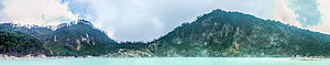 Panoramic view of the Kawah Putih crater wall, 2014-08-21.jpg