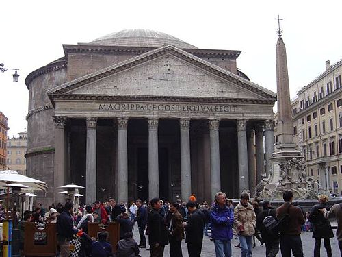 The Pantheon, Rome, built during the reign of Hadrian, which still contains the largest unreinforced concrete dome in the world Pantheon aussen.jpg