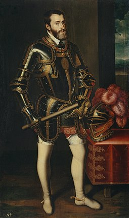 Charles V with Armor by Juan Pantoja de la Cruz (1605), copying Titian Pantoja de la Cruz after Titian - Charles V in Armour.jpg