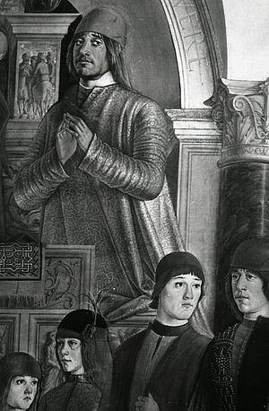 Annibale II Bentivoglio - Bentivoglio Altarpiece by Lorenzo Costa, detail with the portrait of Annibale II Bentivoglio.