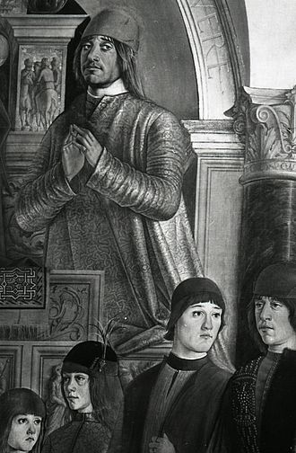 Annibale II Bentivoglio - Bentivoglio Altarpiece by Lorenzo Costa, detail with the portrait of Annibale II Bentivoglio.