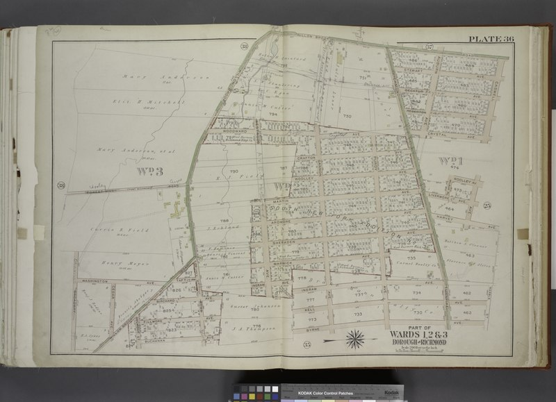 File:Part of Wards 1, 2 and 3. (Map bound by Forest Hill Road (Fort Richmond), Willow Brook Road (Gun Factory RD), Caswell Ave, Harvey Ave, Marble St, Byrne Ave, Buchanan Ave, Delmont St, Cedar NYPL1646256.tiff