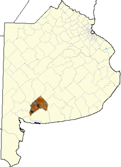 location of Coronel Pringles Partido in Buenos Aires Province