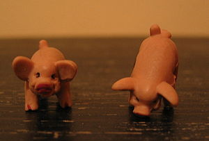 Two dice (pigs) from the game Pass the Pigs