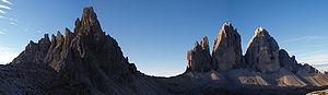 Paternkofel (2.744 m) and Tre Cime di Lavaredo...