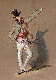 Un homme en chapeau haut-de-forme, veste gris-vert, gilet rouge et culottes blanches à grands careaux jaunes