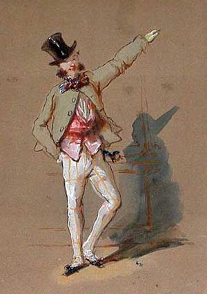 Paul Gavarni - A Parisian dandy, watercolour by Gavarni.