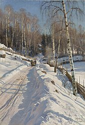 Peder Mønsted - Sleigh ride on a sunny winter day.jpg