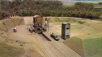 Peenemünde Army Research Center - A launchpad at Peenemünde as depicted in a miniature at the Deutsches Museum
