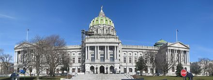 The Pennsylvania State Capitol in Harrisburg Pennsylvania State Capitol Front Panorama.jpg