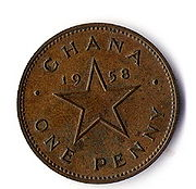 A one penny coin from Ghana