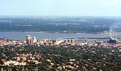 Peoria and Illinois River from Air 1974.jpg