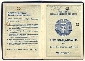 Identity card of the German Democratic Republi...