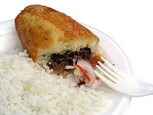 Traditional peruvian plate: Papas Rellenas. Fo...