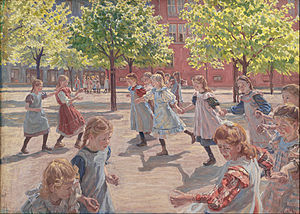 Enghave Plads - Peter Hansen: Playing children. Enghave Plads (1907)