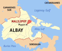 Map of Albay with Malilipot highlighted