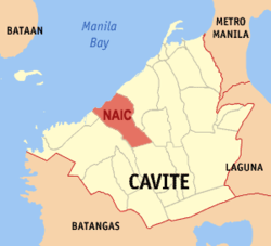 Map of Cavite showing the location of Naic.