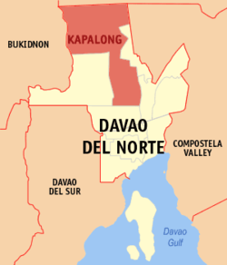 Map of Davao del Norte showing the location of Kapalong