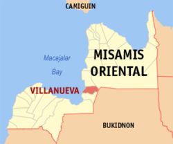 Map of Misamis Oriental with Villanueva highlighted