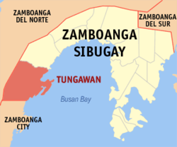 Mapa ng Zamboanga Sibugay na nagpapakita sa lokasyon ng Tungawan.