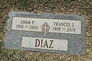 Adam Perez Diaz - Grave of Adam Perez Diaz and Frances Z. Diaz